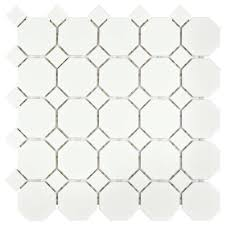 Home Depot Merola Penny Tile by Merola Tile Metro Octagon Matte White With Dot 11 1 2 In X 11 1 2