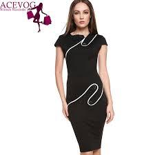 ACEVOG Brand Women Vintage Pinup Rockabilly Elegant Wear To Work Business Casual Tunic Bodycon Sheath Pencil Dress Ladies Apparel