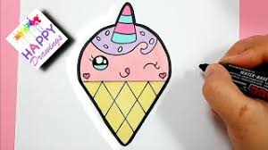 HOW TO DRAW A CUTE LOVELY UNICORN ICE CREAM SUPER EASY