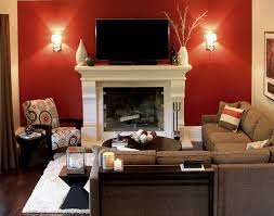 Red Accent Wall Contemporary Family Room With