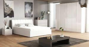 details zu komplett schlafzimmer italia hochglanz weiß kleiderschrank bett und 2x nako
