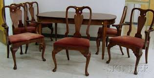 Queen Anne Style Dining Chairs Set Of Six Hickory Chair Co Walnut
