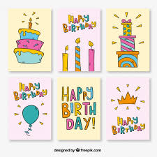 Collection of birthday cards with drawings Free Vector