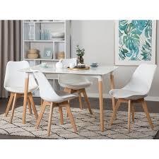 esstisch weiß 80 x 120 cm mdf matt tischplatte naturfarbene beinen rechteckig modern