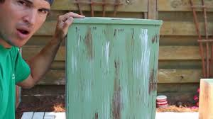 How to Paint Distress Antique Furniture Project 1 painted green
