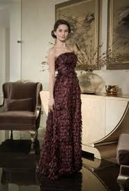 classy evening gown with leafs dark purple mother of the bride