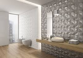 The Metallic Tiles On One Of These Bathroom Walls Give A Glamorous Feel While White 3D Add More Subtle Texture To