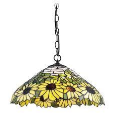 Home Depot Tiffany Floor Lamps by Serena D U0027italia Tiffany 2 Light Sunflower Bronze Hanging Lamp