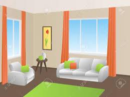 wohnzimmer innenraum grün orange gelb weißen sofa sessel fenster illustration vektor