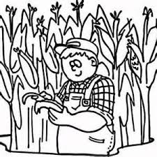 Corn Field Coloring Pages Sketch Template