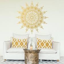 große mandala aufkleber boho dekor boho wandtattoo studio dekor gold wandtattoo wohnzimmer wand dekor fenster aufkleber 007