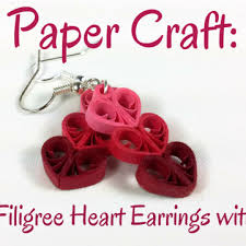 Paper Craft Making Filigree Heart Earrings With Quilling