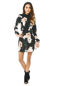ax paris womens mini dress high neck black floral long sleeve