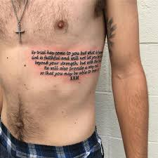 The Bible Verse Tattoo On Ribs For Men