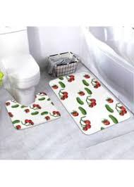 badematten set muster tomaten gurken auf weiß 2 teiliges