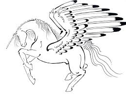 Unicorn With Wings Coloring Pages As Well Drawn