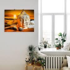 artland wandbild bad zubehör mit buddha statue religion 1 st in vielen größen produktarten alubild outdoorbild für den außenbereich