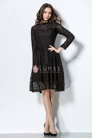 illusion long sleeve high neck vintage black lace short bridesmaid