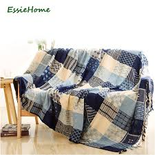 plaid pour canapé essie accueil canapé couverture chenille bleu beige plaid bohême