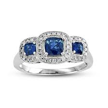 Fancy Designer Antique Retro Vintage Three Stones Style Sapphire And Diamonds In White Gold Ring