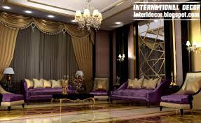 International Living Room Ideas With Luxury Purple Furniture 2014