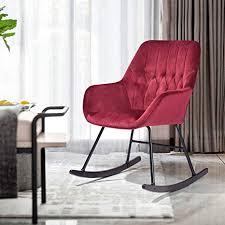 homycasa schaukelstuhl aus samt moderner sessel relaxsessel relaxsessel ergonomisches design mit massivholz beinen für wohnzimmer wein