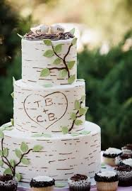 Birch Inspired Wedding Cake With Bird Toppers