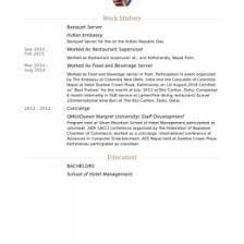 Banquet Server Resume Samples VisualCV Database