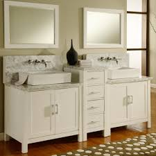 Bathroom Double Vanity Cabinets by Foxy Design Ideas Using Rectangular White Wooden Vanity Cabinets