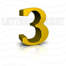 LettersMarket 3D Gold Number 3 isolated on a white background