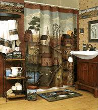 Country Style Shower Curtain Rustic Theme Of Small Town With