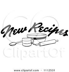 Clipart Black And White New Recipes Text Over Baking Items Royalty Free Vector Illustration by Prawny Vintage