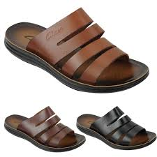 New Mens Genuine Leather Sandals Beach Walking Jesus Slippers Slider Black Brown