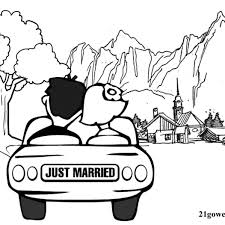 Printable Wedding Coloring Book Template Free Tree Just Married Village