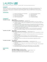 Sample Police Officer Resume Resumes Free Example Of
