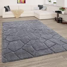 hochflor teppich wohnzimmer shaggy 3d effekt langflor rauten muster modern grau