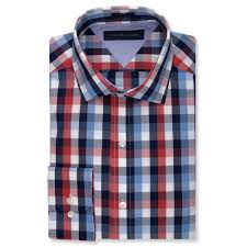 tommy hilfiger bold red and blue check dress shirt in blue for men
