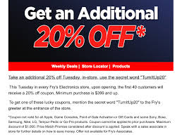 Fry's Electronics Stores - 20% Off In-Store Purchase Tuesday ...