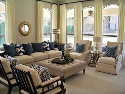 blue and tan living room with elegant nautical furniture decor