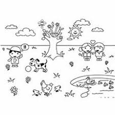 Spring Weather Butterflys Flying In Coloring Page For Kids