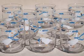 Country Geese Blue Ribbon Goose Print Drinking Glasses Retro 80s Vintage Libbey Tumblers