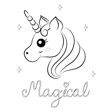 Unicorn Coloring Page Printable Cute Pages Preschool For Pretty Baby Cartoon Vector