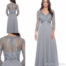elegant lace bodice full sleeves chiffon gowns mother of the bride