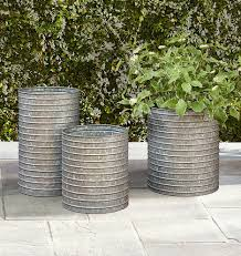 Ribbed Galvanized Metal Planters From Rejuvenation Hardware