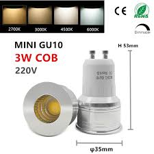 led mini gu10 cob mr16 mr11 3w 35mm dimmable 2700k warm white daylight spot light bulb replace halogen l