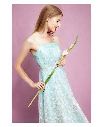 mint green spaghetti strap floral print tea length dress gemgrace