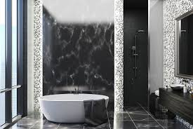 black marble and gray tile bathroom interior with a black marble