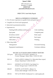 Jamess Resume Sample For An Auto Body Repair Job