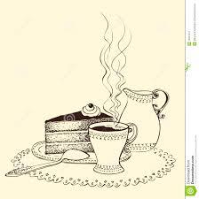 ein tasse kaffee kuchen und milchkrug vektor abbildung
