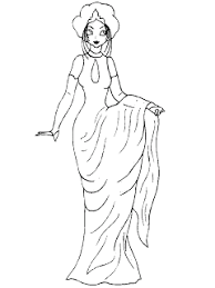 Pretty Girl Wearing A Dress Coloring Pages